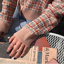 懷舊復古小香風外衣開衫 大V領排釦彩格粗花針織外套 艾爾莎【TGK8572】