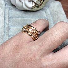 DIOR 超美 二手 金色 字母 鏈條 星星 水鑽 多種元素 三環 造型 戒指