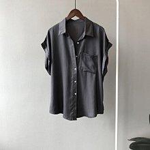 落肩袖襯衫 設計款單口袋開釦落肩反褶蝙蝠袖短袖襯衫 艾爾莎【TAE8402】