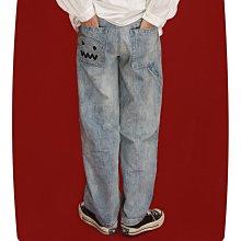 ►DR.DESIGN│DR3260-小眾設計 復古玩味 俏皮 刺繡高腰 顯瘦 作舊水洗工藝 垂感寬管 牛仔褲