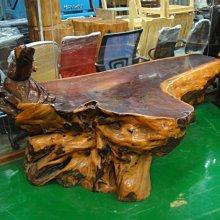 樂居二手家具生活館(中) 台中全新中古傢俱買賣 LG-806*實木紅豆杉泡茶桌 一體成形 達摩雕刻*仿古家具買賣 黑檀木