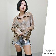 GW 卡其色金絲絨 歐美長袖襯衫 長版上衣 BF 寬鬆慵懶 不規則長度 F尺寸GUESSWHAT