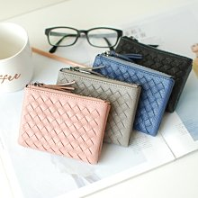 【里樂@ LeaThER】質感皮革編織對折短夾 中夾 皮夾 卡夾 零錢包 巧 563