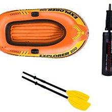 200型 美國INTEX探險者 橡皮艇 2人加厚 衝鋒舟 漂流船 氣墊船 充氣船 親子 探險 漂漂船 沙灘 划水 送船槳
