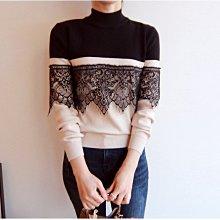 正韓 全新 氣質 小女人 約會 黑 米白 蕾絲拼接拼色長袖針織衫上衣