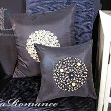 【La Romance 芮洛蔓】Enos 系列 - 晶亮縫珠- 深灰色 (小)  / 腰枕 / 靠枕 / 靠墊