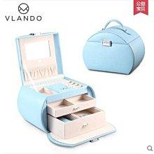 {興達1812}首飾盒公主歐式珠寶盒木質帶鎖手飾品收納盒項鍊戒指盒「天空藍」TCQ
