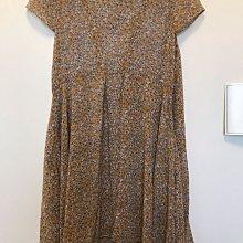 正韓 雛菊小碎花雪紡荷葉袖不規則下襬連身裙 飄逸氣質 韓國製 F size