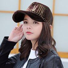 【MURUACHIC率真風格☆K682-2☆韓製毛絨金鍊棒球帽 -咖色款】帽子專賣店