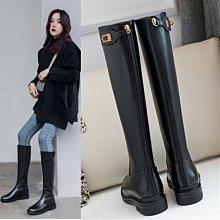 DANDT 時尚牛皮金色釦飾百搭騎士長靴(OCT 30 B1125)同風格請在賣場搜尋 REG 或 歐美女鞋