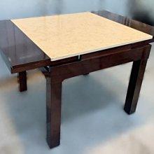樂居二手家具(中)台中西屯二手傢俱買賣推薦 E111603*胡桃大理石伸縮餐桌 *2手桌椅拍賣 會議桌椅 戶外休閒桌椅