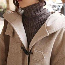 學院風加厚保暖中長款大衣 經典牛角釦連帽毛呢外套 艾爾莎【TGK4277】