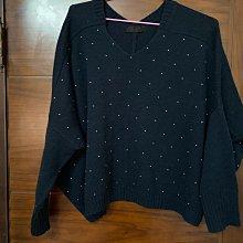 日本LOWRYS FARM 專櫃 深藍色小鑽毛衣