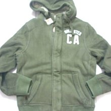 美國衝浪時尚Hollister 男裝Tecolote Canyon軍橄欖M號厚鋪棉毛絨絨暖暖拉鍊帽T含運在台現貨