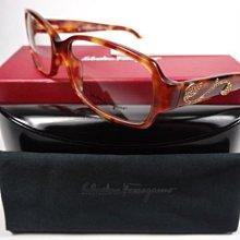 【信義計劃】全新真品 Salvatore Ferragamo 費洛加蒙 眼鏡 彈簧水鑽膠框 搭配項鍊戒子手鐲