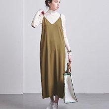 UNITED ARROWS 21春 高品質 深V領吊帶 I型線條背心裙 (現貨款特價)