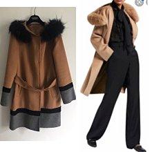 Maxmara 義大利真品 woolmark 經典駝色羊毛連帽狐貍毛外套大衣