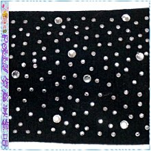 ☆POLLY媽☆歐美BRASH滿綴貼鑽鋁片黑色針織棉髮帶寬6.5cm