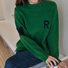 Bellee 正韓 可愛R字母袖小口袋長袖毛衣  (4色)【Z1218-33】