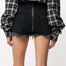 【WEEKEND】 UNRAVEL 破壞 抽鬚 不修邊 前後拉鍊 牛仔 短褲 熱褲 黑色 18春夏新款