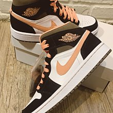 Wmns Air Jordan 1 Mid SE Peach Mocha size:24.5cm 喬丹一代SE女鞋US:7.5號 杏桃摩卡 DH0210 100