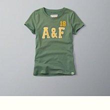 Maple麋鹿小舖 Abercrombie&Fitch * AF 綠色電繡貼布字母短T *( 現貨XS號 )