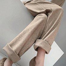 長褲 暖呼呼 增高顯瘦 3D立體 高腰人字紋加厚毛呢保暖直筒褲 艾爾莎【TAE8628】