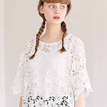Syrup 21春夏 精緻優雅蕾絲 白色鏤空五分袖罩衫 (現貨款特價)