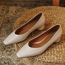 Fashion*高端定製方頭舒適牛皮奶奶鞋 工作鞋 圓形中跟鞋 四季單鞋/跟高3.5CM 33-43碼 米白 杏色 棕色