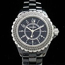 CHANEL 香奈兒 J12 黑陶瓷腕錶 錶徑33mm 原廠黑鑽石外圈 石英機芯 附店保卡精美盒 大眾當舖 編號1370