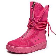 Smile 嘻哈風牛反絨磨砂皮前拉鍊側邊字母印花 高幫帆布靴 中筒靴 顯腿細馬丁靴 平底靴 3色 Sh1292