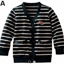 【nissen日本服飾】長版針織外套-條紋-女童現貨 正面&口袋開口蝴蝶結裝飾 左胸口 金蔥裝飾 甜美 長版針織外套