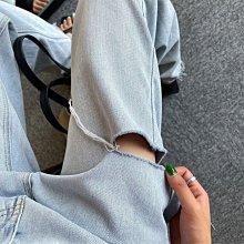 Black Market 夏季個性寬鬆顯瘦款高腰牛仔拖地割破直筒長褲 (預購)