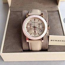 全新正品BURBERRY手錶(BU9704)玫瑰金錶殼陶瓷錶圈皮革錶帶石英女生三眼計時時尚潮流腕錶38mm