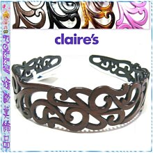 ☆POLLY媽☆歐美claire's品牌鏤空雕花仿柚木、黑色、玳瑁色、玫紅色塑料髮箍