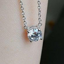 4爪镶 1克拉高碳仿真鑽石項鏈女鑽 特價$2900 韓版飾品 精工爪鑲單碳原子純銀鍍鉑金  FOREVER鑽寶