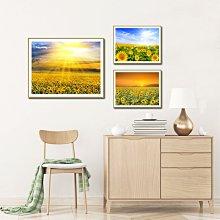 油畫兒童房間裝飾畫田園風格掛畫向日葵花田風景畫客廳背景墻帶框畫