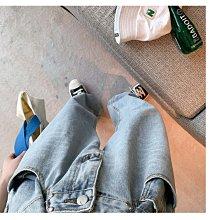 丹寧 低褲檔老爹褲老爺褲 垮褲 寬褲 不挑人寬鬆版 春夏高腰腰釦顯瘦寬鬆闊腿褲拖地牛仔褲 艾爾莎【TGK8332】