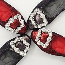 ♀️女:低奢感小羊皮方扣娃娃鞋(黑/紅)、鑽扣鞋、方扣鞋、大方鑽、縫底鞋、小羊皮娃娃鞋、紅鞋、軟Q娃娃鞋