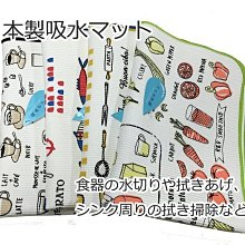 【LiuLan Box日韓生活館】日本製 手繪插畫風速乾吸水 家事布/瀝水墊/吸水墊/廚房碗盤吸水布墊