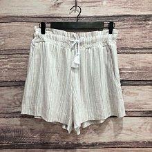 Maple麋鹿小舖 Abercrombie&Fitch * AF 米色直條紋鬆緊帶綁帶休閒短褲* ( 現貨M號 )