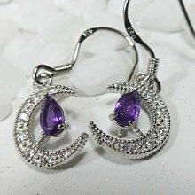 《精品百貨》天然純銀半月亮鋯石紫水晶水滴造型耳勾式耳環