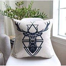 [特價]北歐風 厚磅棉麻抱枕套/靠墊/沙發抱枕 53x53cm - 鹿