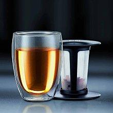 丹麥 Bodum TEA FOR ONE 350ml 黑色蓋 獨享杯 雙層 隔熱 玻璃杯 咖啡杯 keee53-01us