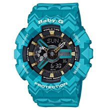 BABY-G波西米亞民俗風概念休閒錶(BA-110TP-2)藍X黑面43.4m少量到貨