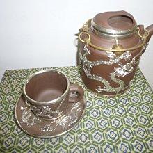 茶壺.紫砂壺.朱泥壺.手拉坯壺/早期鑲嵌錫牛蓋洋桶壺九頭套壺組