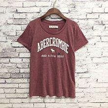 Maple麋鹿小舖 Abercrombie&Fitch * AF 磚紅色電繡字母麋鹿短T* ( 現貨M號 )