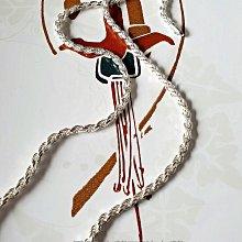 黑爾典藏西洋古董 ~純銀925銀 切割麻花螺旋 粗版純銀項鍊長項鍊 #26 ~復古蕾絲古著穿搭