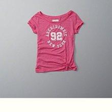 Maple麋鹿小舖 Abercrombie&Fitch * AF 粉色電繡字母寬領露肩短T * ( 現貨L號 )
