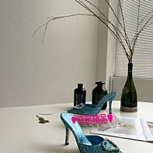 ♥空姐精品♥巴黎時尚 愛心水鑽鑲鑽格利特亮片尖頭高跟鞋 歐洲名媛都愛婚鞋 伴娘鞋